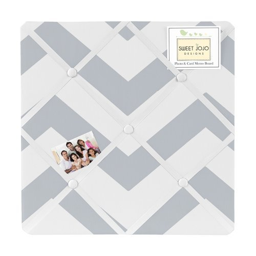Gray and White Chevron Zig Zag Fabric Memory/Memo Photo Bulletin Board