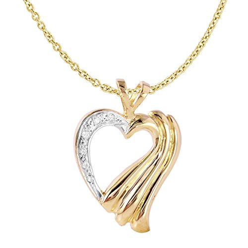 0.1 Carat Natural Diamond 14K Yellow Gold Heart Pendant Necklace for (0.1 Ct Gemstones)