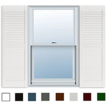 15 Inch X 63 Inch Standard Louver Exterior Vinyl Window Shutters White Pair Home