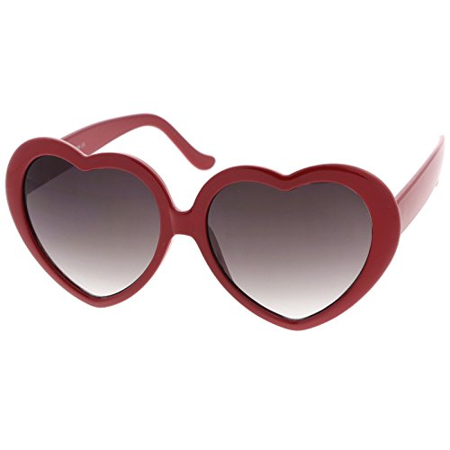 zeroUV - Women's Oversize Gradient Lens Heart Sunglasses 55mm (Red / - Red Heart Sunglasses Shaped