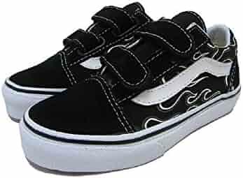 4332c2fe1791 Vans Kid s Old Skool V (Glow Flame) Black True White Skateboarding Shoes  VN0VHEESY