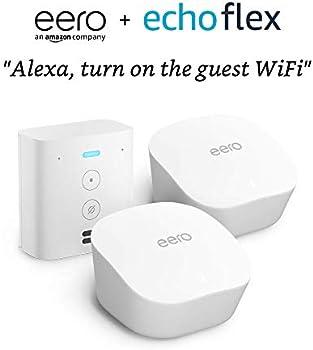 2-Pack eero Mesh Wi-Fi Router / Extender + Free Echo Flex