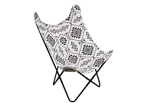 THE HOME DECO FACTORY – Fauteuil Papillon Butterfly Ethnique Noir et Blanc, Métal, 74 x 79 x 101 cm