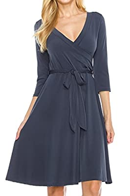 KLKD Women's Solid 3/4 Sleeve Knee Length Self-Tie Dress Made In USA