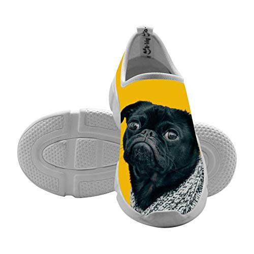 Kids Sneakers Curious Pug Pet 3D Print Slip-On Shallow Loafers Elastic Sport Flyknit Shoes