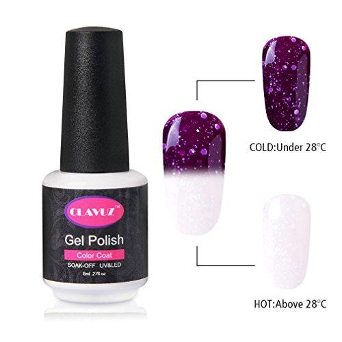 Gel Nail Polish CLAVUZ Soak Off Snowflake Color Changing Gel Polish Nail Lacquer Nail Art 8ML