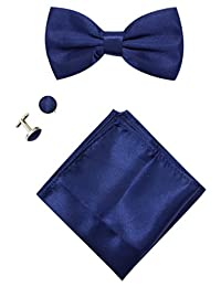 Mens Solid Stain Pre-tied Tuxedo Bow Tie Cufflinks Pocket Square Set By JAIFEI (Navy)