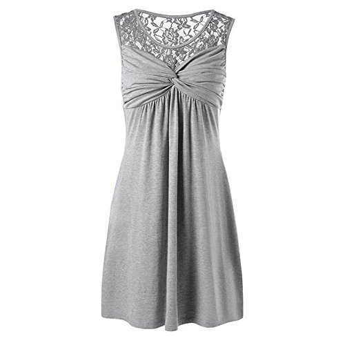 Londony Women's Floral Lace Short Bridesmaid Dress Cocktail Party Dress Wedding Party Dress Short Prom Dress Gray