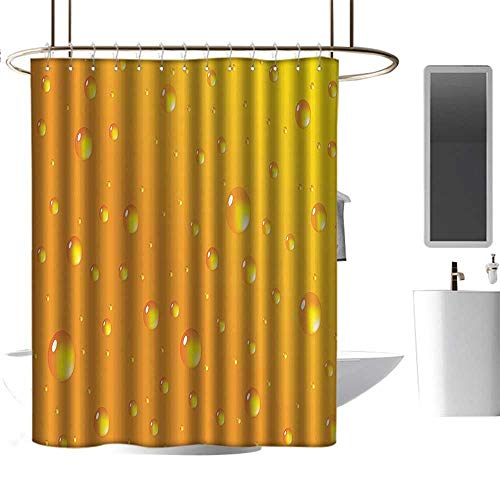 Shower Curtain Set with Hooks Abstract,Water Rain Drops Style Bubbles on Vibrant Background Pastel Light Serene Design,Marigold Punch-Free Curtain W96 xH72 - Punch Marigold