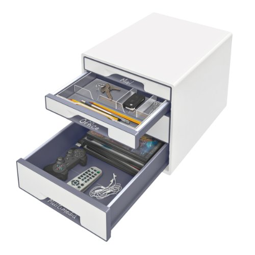 Leitz 4 A4 Drawer Cabinet, Organiser with Marker Pen and Transparent Tray, Wow Range, Pearl White/Grey