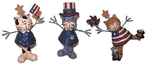 (Blossom Bucket Patriotic Stars & Stripes Cat Kitten Set of 3 Resin Figurines )