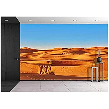 wall26 Camel Caravan Going Through The Sand Dunes in The Sahara Desert,  Merzouga, Morocco - Removable Wall Mural   Self-Adhesive Large Wallpaper -