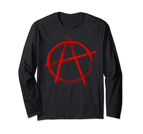Anarchy Logo - Anarchist Protest Distressed Long Sleeve Tee