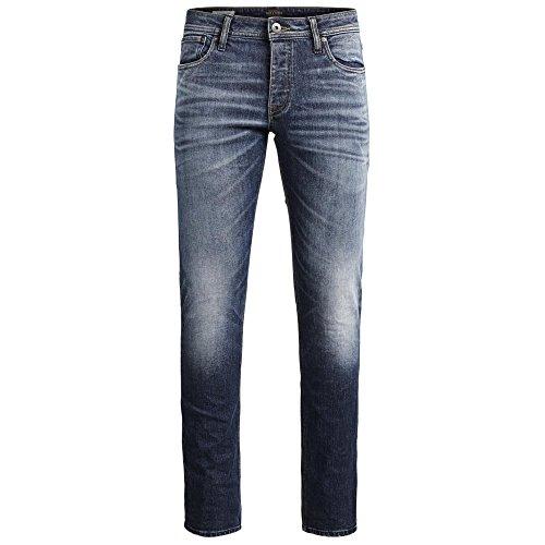JACK & JONES Herren Jeans jjiTIM 085 Used Look Blue Denim Elasthan Slim Fit (32W / 32L, Blau (Blue Denim Fit:SLIM))