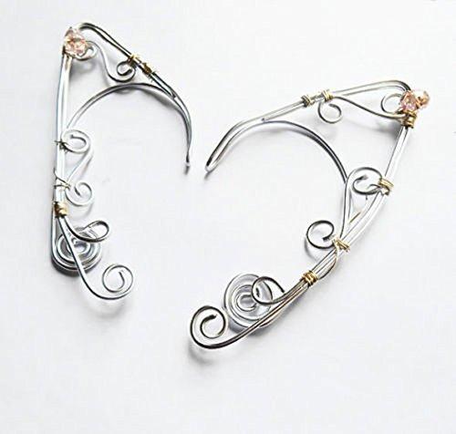 Amazoncom Elf Ear Cuffs Silver Wire Wrapped Elven Ear Cuffs With