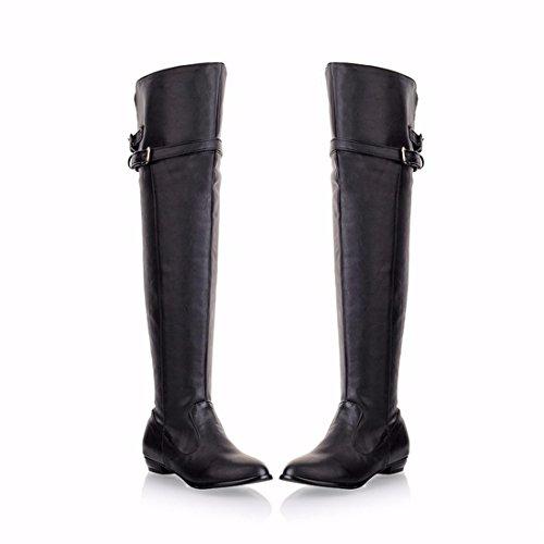 botas botas de femenino Botas invierno black Caballero altas tubo redondo de fw66dT