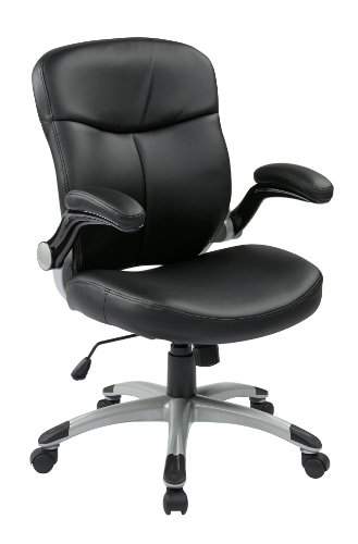Office Star Mid Back Bonded Leather Executives Chair with Padded Flip Arms and Silver Coated Accents, Black Review