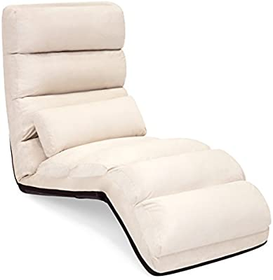 Best Choice Products Folding Floor Lounge Sofa Chair w/Pillow for Gaming,  Lounging - Beige