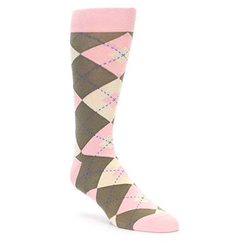 (Statement Sockwear Men's Argyle Groomsmen Wedding Socks (Pink Brown Tan)