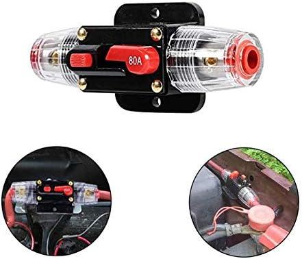 Portafusibles 50Amp -100Amp Restablecimiento del Disyuntor Portafusibles Coche Barco Fuse Holder Waterproof 12-24V Nuevo(80A)