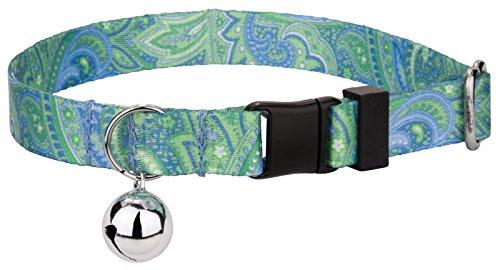 Paisley Cat Collar - Country Brook Petz Green Paisley Featherweight Cat Collar