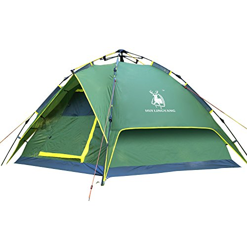 HuiLingYang Pop Up Outdoor Camping Instant Tent, Waterproof 3 - 4 Person Portable Camping Automatic Family Tent/Backpacking Tent With Carry Bag, Army Green