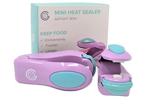 MINI HEAT SEALER (2 PACK) – PREMIUM SEALING FOR FOOD STORAGE, CHIPS, CANDY, SNACKS, GROCERIES, PLASTIC BAGS – PORTABLE SEAL AND RESEAL FOR AIRTIGHT LOCK CLOSURE – PROMOTES ELONGATION OF (Owner Safety Caps)