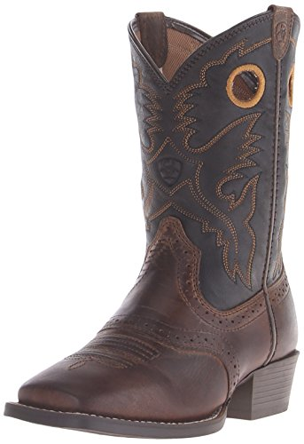 (Kids' Roughstock Western Cowboy Boot, Distressed Brown/Black, 5.5 M US Big Kid)