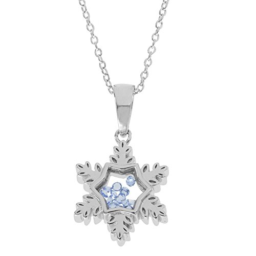 Disney Women's and Girls Jewelry Frozen Sterling Silver Crystal Snowflake Shaker Pendant,18
