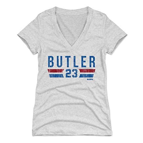 500 LEVEL Jimmy Butler Women's V-Neck Shirt (XX-Large, Tri Ash) - Philadelphia Basketball Shirt for Women - Jimmy Butler Philadelphia Font B