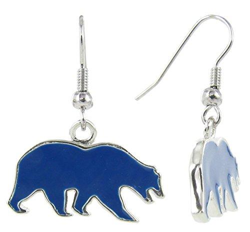 RhinestoneU NCAA California Golden Bears UC Berkeley Walking Bear Logo Dangle Hook Earrings with Navy Enamel, One Size -