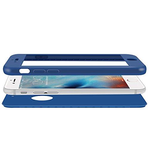 iPhone 6S Hülle , ivencase [Armor Series] Case Soft Silikon [Dunkelblau] Premium TPU Handyhülle Shockproof Cover Front & Back + Tempered Glas Display Schutz Neuer Design Vollschutz Schild für iPhone 6