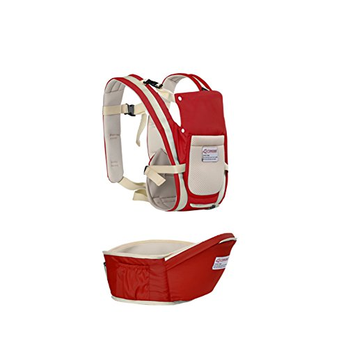 Baby Carrier, URVOGUE Muti-Function Breathable Safe Baby Hip Seat with Detachable Seat Universal (red)