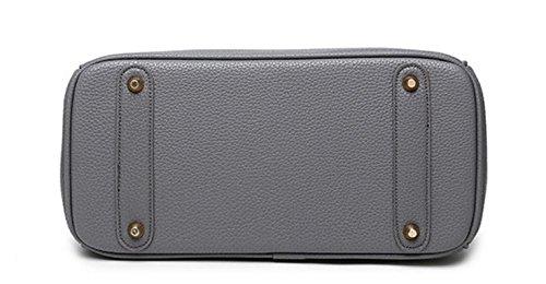 HandbagCrave® Kandy Oro Hardware 30cm Bolsa de Padlock Bolso con cremallera & Bandolera Gris oscuro
