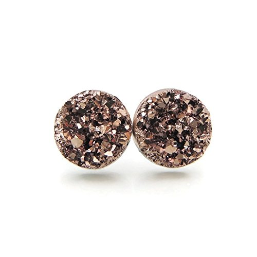 Invisible Clip On 12mm Faux Druzy Earrings for Non-Pierced Ears, Rose Gold-Tone