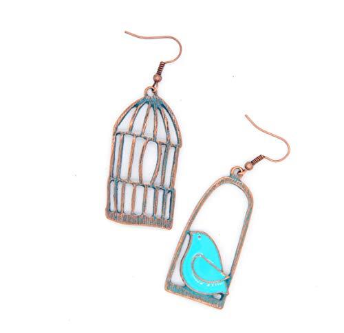 LAVAL'S Vintage Asymmetric Bohemian Birdcage Jewelry Women Gifts Earrings