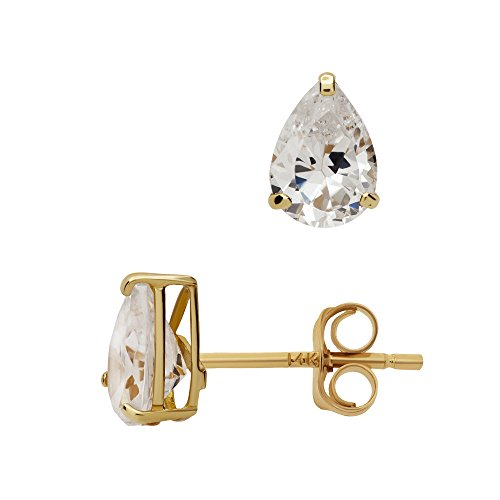 - 14K Yellow Gold Basket Set Pear-Shaped CZ Cubic-Zirconia Solitaire Stud Earrings 4, 5, 6 MM (5X3 Millimeters)