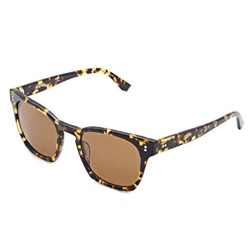 SH007 Hourvun Square Unisex Polarized Sunglasses for Men Women, Retro Wayfarer Sunglasses(Tortoise shell, - Tortoise Brown Glasses Shell