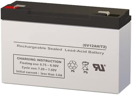 DC6-12 6 Volt 12 AmpH SLA Replacement Battery with F2 Terminal