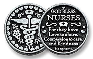 - Dozen (12) GOD Bless NURSES - Pewter POCKET Tokens - 1