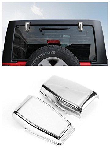Niceautoitem 3Colors Car Exterior Decoration Liftgate Rear Door Window Glass Hinge Cover Sticker Fit For Jeep Wrangler JK 2007-2017 (Chrome)