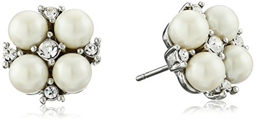 Carolee Pearl and Crystal Basics The Caitlin Floral Motif Pierced Stud Earrings Carolee Jewelry