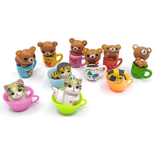 EMiEN 10PCS Bears and Cats in Cups Miniature Ornament for DIY Dollhouse Decoration Fairy Garden Plant Décor, Nice Decoration Accessories for Desk,Cabinet,Kids Room,Party etc. Christmas/Birthday Gift f from EMiEN