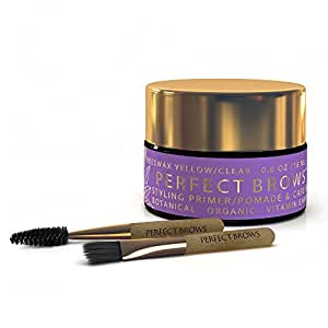 Perfect Brows Botanical Styling Primer Pomade and Brow Care Balm w/2PC Mini-Brush Set. Beeswax Clear / O.6 Oz