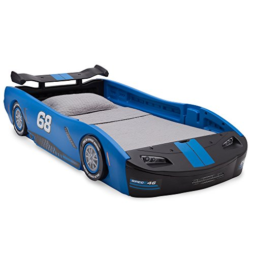 (Delta Children Turbo Race Car Twin Bed, Blue)