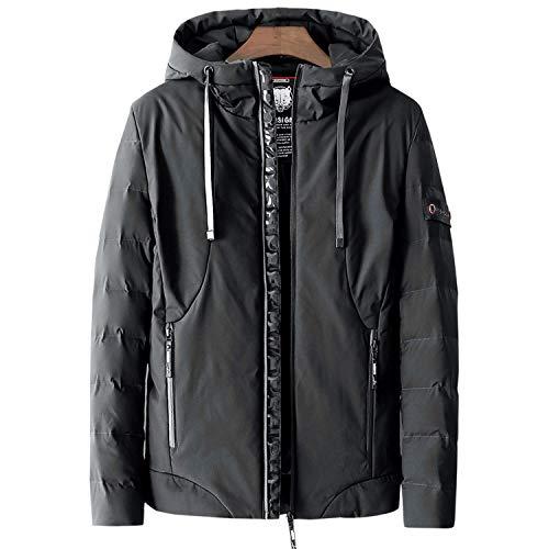 colorful-space Men Casual Hooded Thermal Jacket Parka Men Solid Waterproof Jackets,828-Black,L