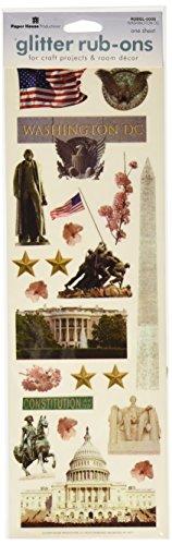 Paper House Productions RUBGL-0005E Borderless Glitter Rub-Ons, Washington DC (3-Pack)