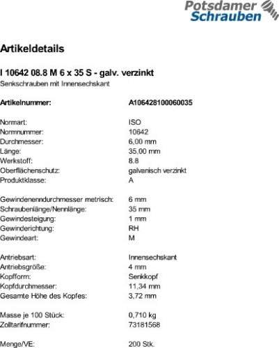 200 Innensechskant Senkkopfschrauben ISO 10642 8.8 verzinkt M6x35