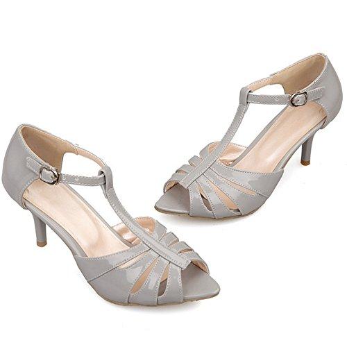 Zapatos RAZAMAZA Mujer Peep T Sandalias Tacon de Moda Gris Toe Aguja Strap qapxU7