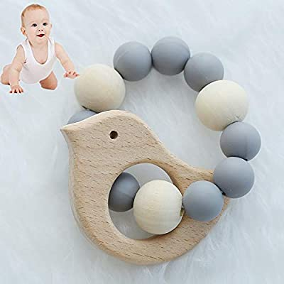 Loouer Wooden Teething Bracelet Bird and Beads Teether Toy Nursing Bracelet for Baby Natural Wood Teething Rattle Newborn Photography Props (Gray): Beauty